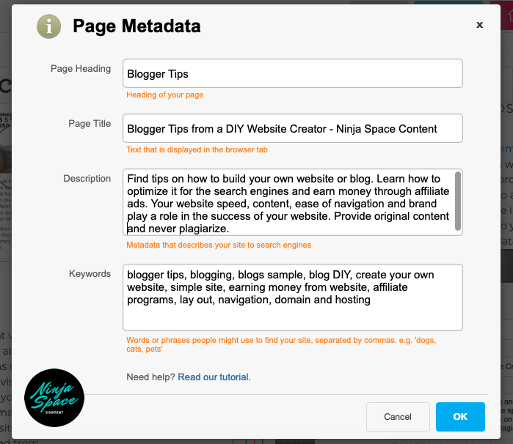 metadata for Ninja Space Content website